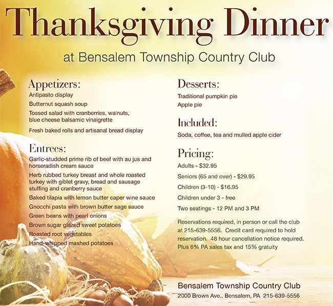 Thanksgiving Dinner at Bensalem Township Country Club